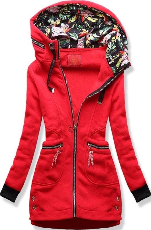 MODOVO Dlouhá dámská mikina s kapucí D547 červená