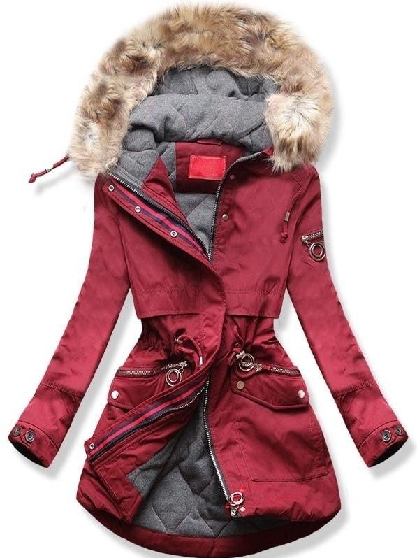 MODOVO Dámska zimná bunda s kapucňou Q624 bordová