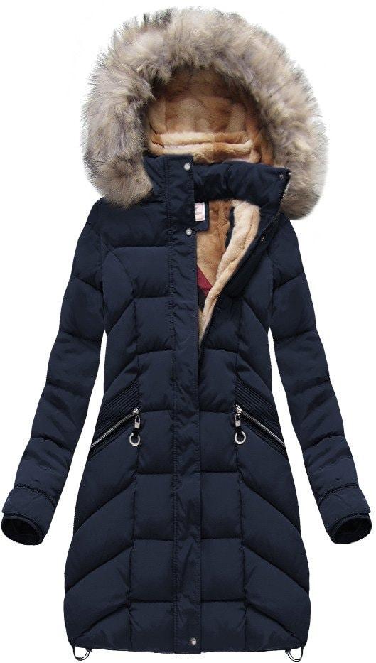 MODOVO Dámska zimná bunda W737 tmavomodrá