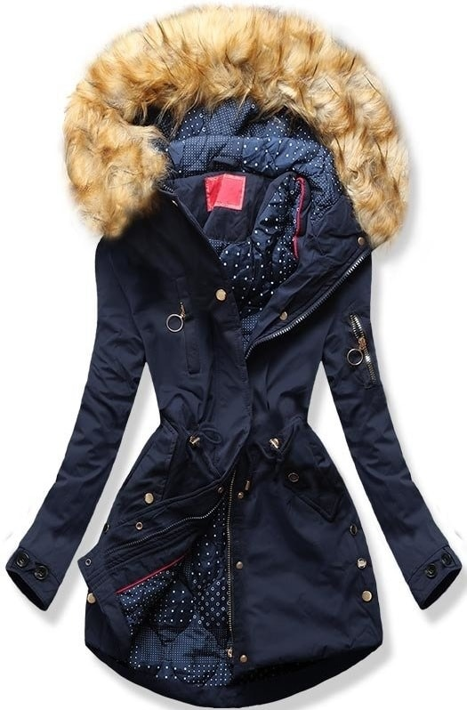 MODOVO Dámska zimná bunda s kapucňou Q32 tmavo modrá - XL