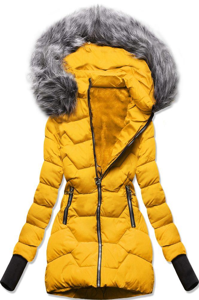 MODOVO Zimní bunda s kapucí žlutá