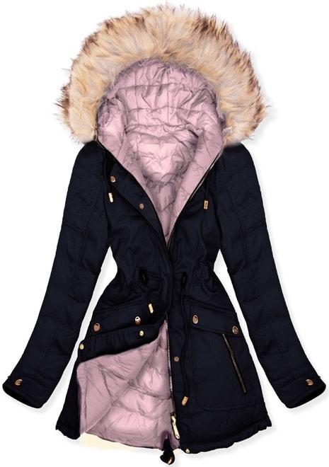 MODOVO Dámska zimná bunda W632 tmavomodrá - S