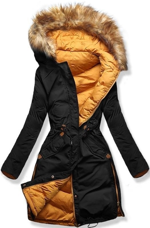 MODOVO Dámska zimná bunda s kapucňou A5 čierno-oranžová - M