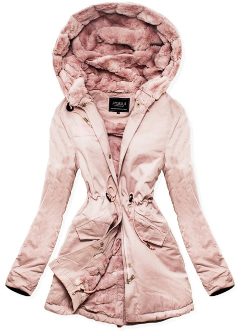MODOVO Dámska zimná bunda s kapucňou W806 púdrová