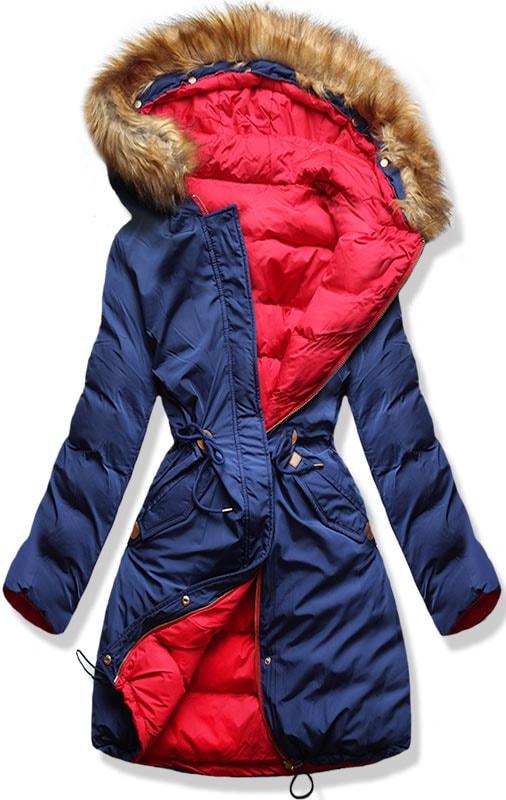 MODOVO Dámska zimná bunda s kapucňou A5 modro-červená - M
