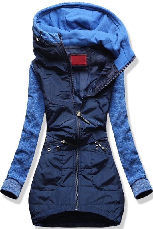 MODOVO Dlouhá dámská mikina s kapucí D357 modrá