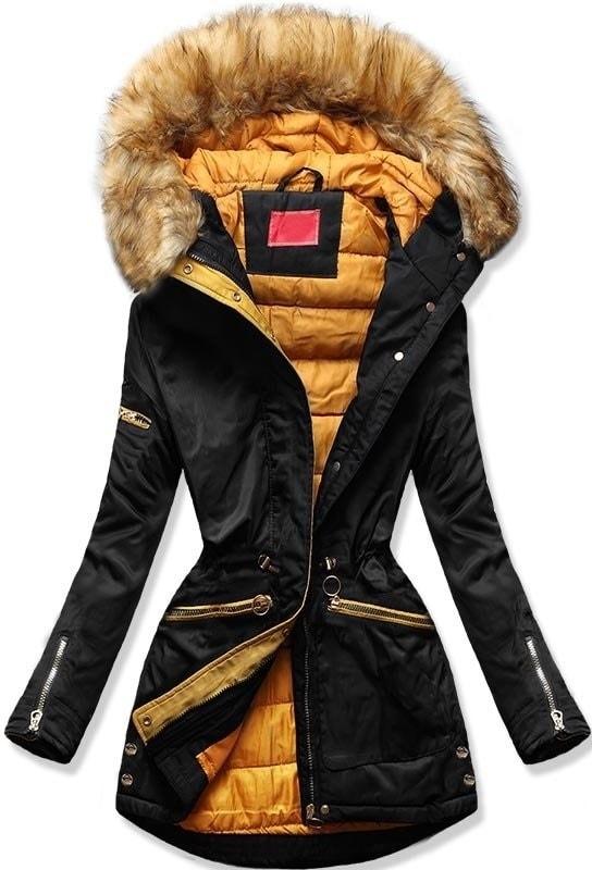 MODOVO Dámska zimná bunda s kapucňou PO-305 čierno-oranžová