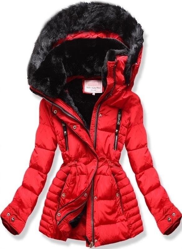MODOVO Dámska zimná bunda s kapucňou W736 červená