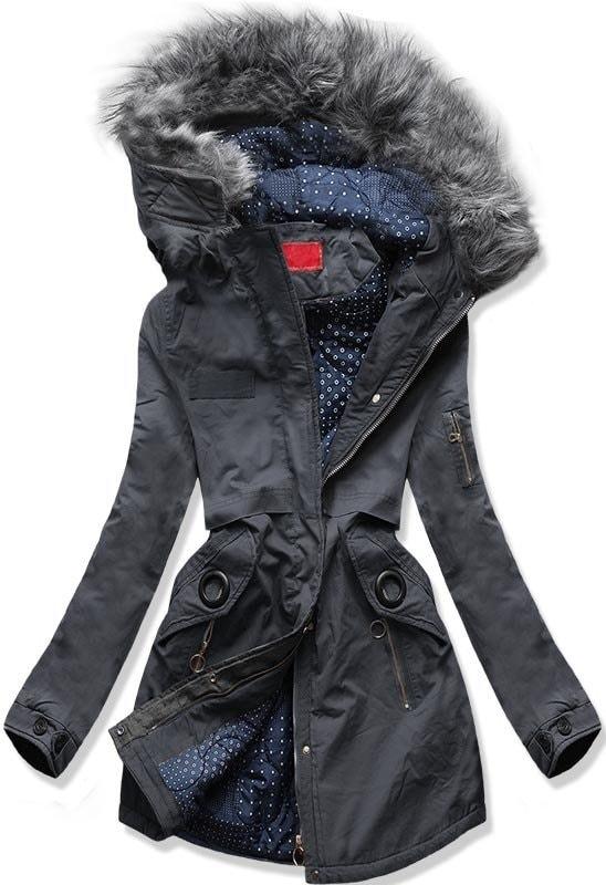 MODOVO Dámska zimná bunda s kapucňou A-16 grafitová - XL