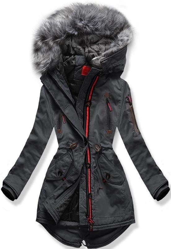 MODOVO Dámska zimná bunda s kapucňou PO-301 grafitová - XL