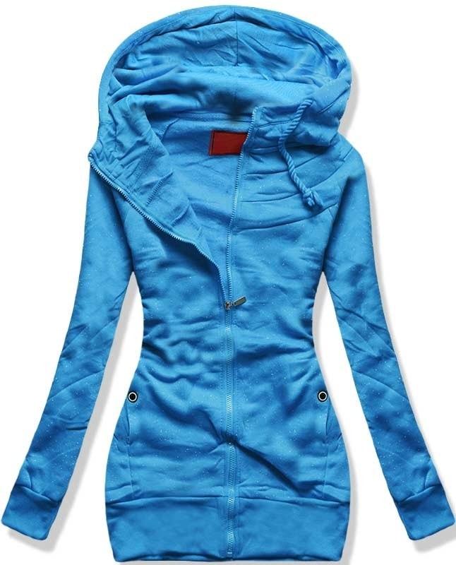 MODOVO Dlouhá dámská mikina s kapucí D422 modrá - L