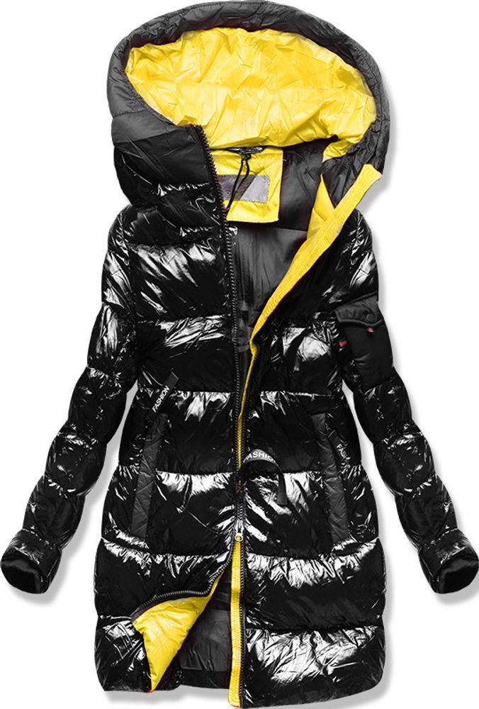 MODOVO Zimní bunda s barevnou podšívkou černo-žlutá