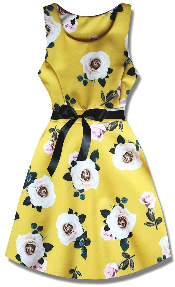 MODOVO Elegantné dámske šaty P7534 žlté