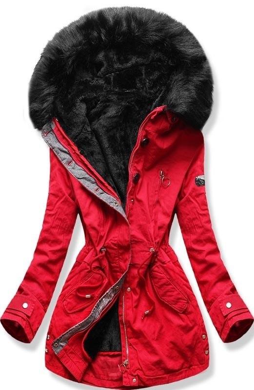 MODOVO Dámska zimná bunda s kapucňou B-73 červená