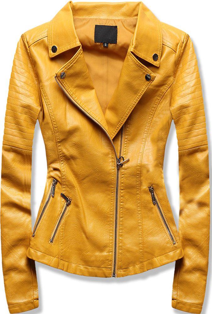 MODOVO Dámska koženková bunda žltá - XL