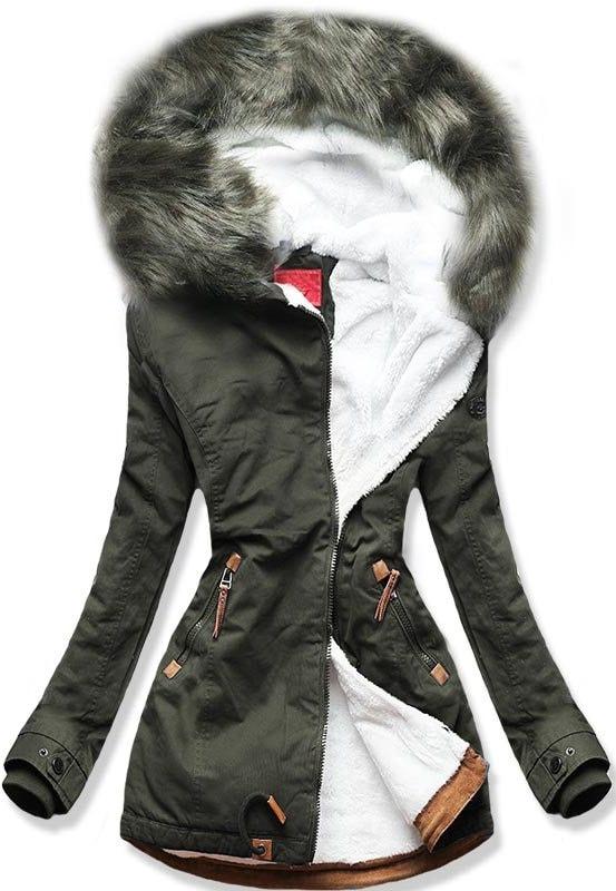 MODOVO Dámska zimná bunda A923 khaki