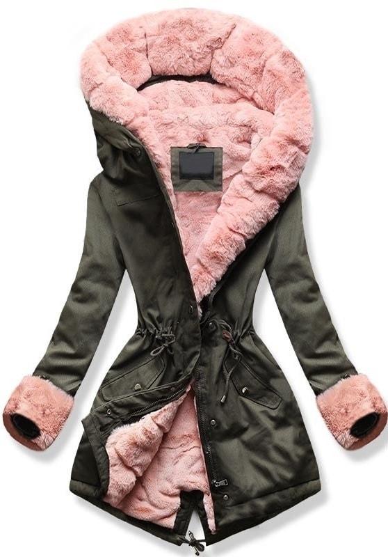 MODOVO Dámska zimná bunda s kapucňou 5513B khaki-ružová - XL