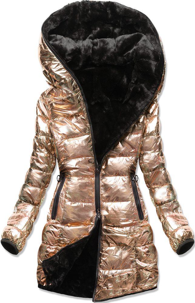 MODOVO Zimní oboustranná  bunda perleťově-zlatá