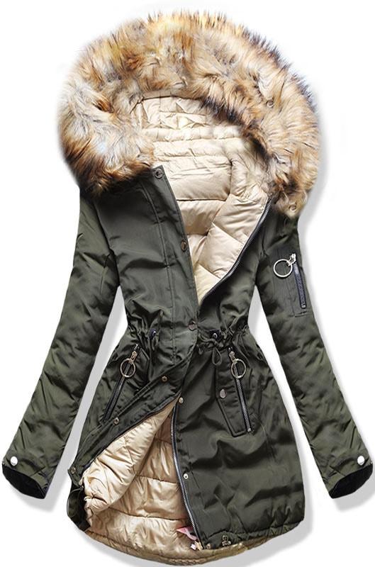 MODOVO Dámska zimná obojstranná bunda W-707 khaki-béžová