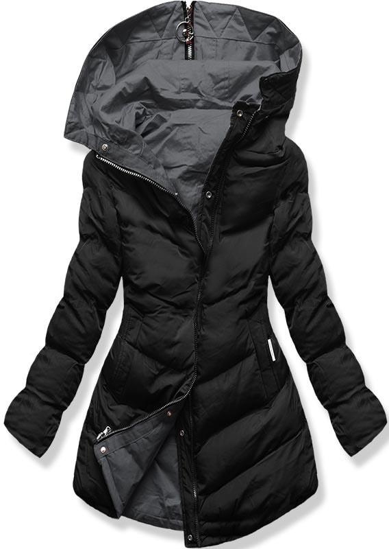 MODOVO Dámska zimná bunda s kapucňou B-736 čierno-grafitová - L
