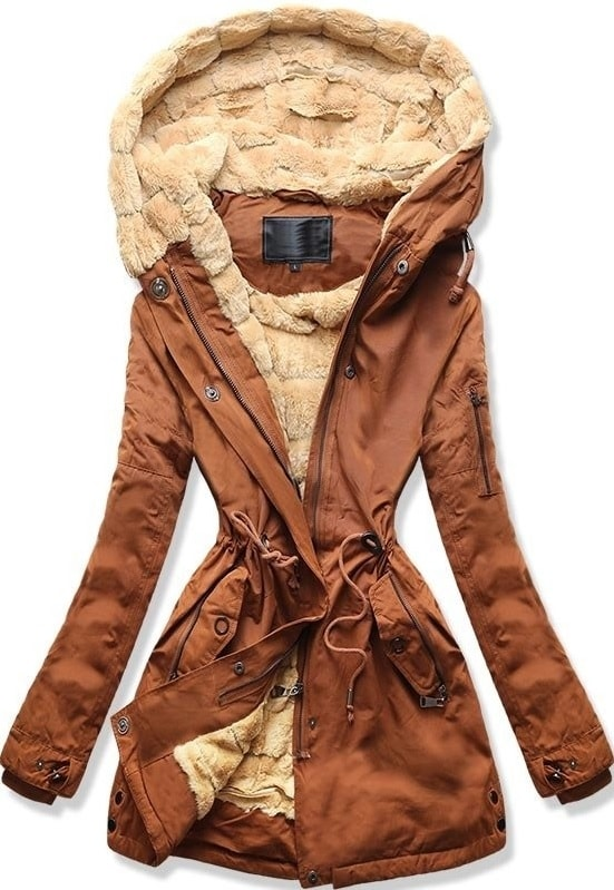 MODOVO Dámska zimná bunda s kapucňou W807 hnedá