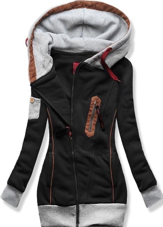 MODOVO Dlhá dámska mikina s kapucňou D550 čierna