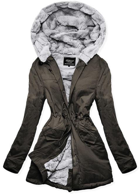 MODOVO Dámska zimná bunda s kapucňou W806 khaki