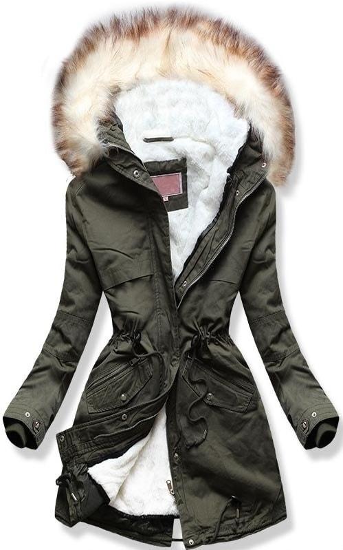 Dámska zimná bunda s kapucňou W166 khaki - XL