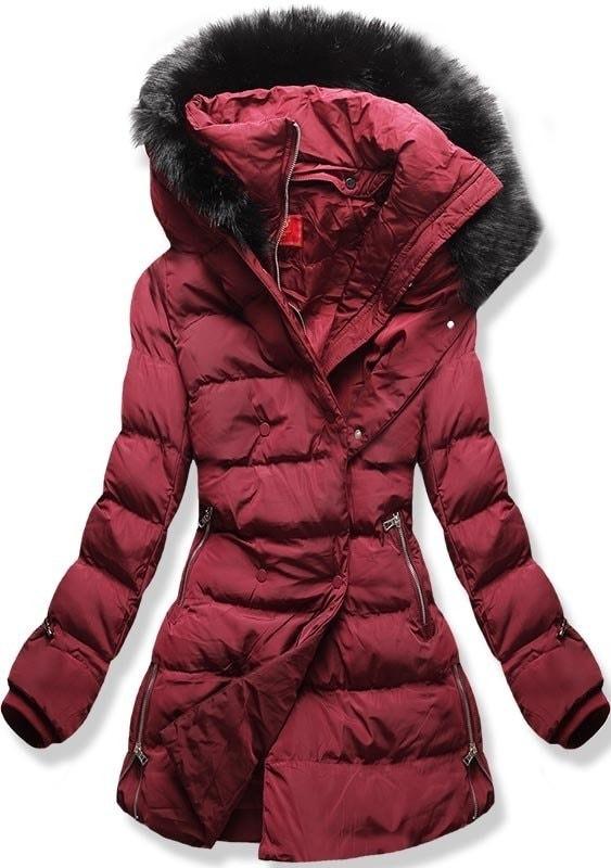 MODOVO Dámska zimná bunda s kapucňou A-248 bordová - XL