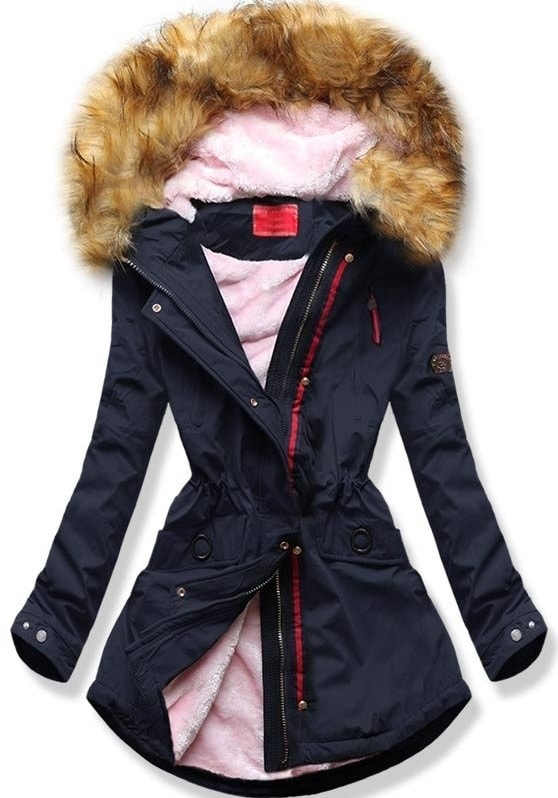 MODOVO Dámska zimná bunda s kapucňou Q35 tmavo modrá - L
