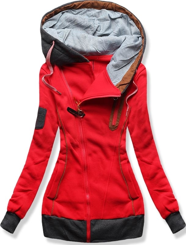MODOVO Dlouhá dámská mikina s kapucí D550 červená - M