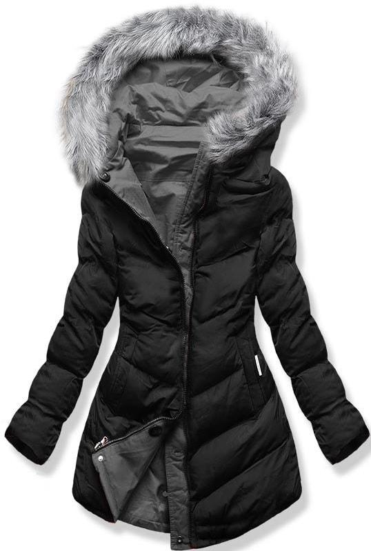 MODOVO Dámska zimná bunda s kapucňou B-746 čierno-grafitová - XXL