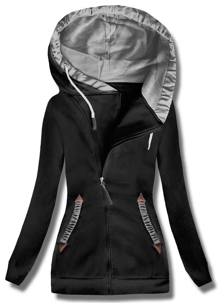 MODOVO Dlhá dámska mikina s kapucňou D370 čierna - S
