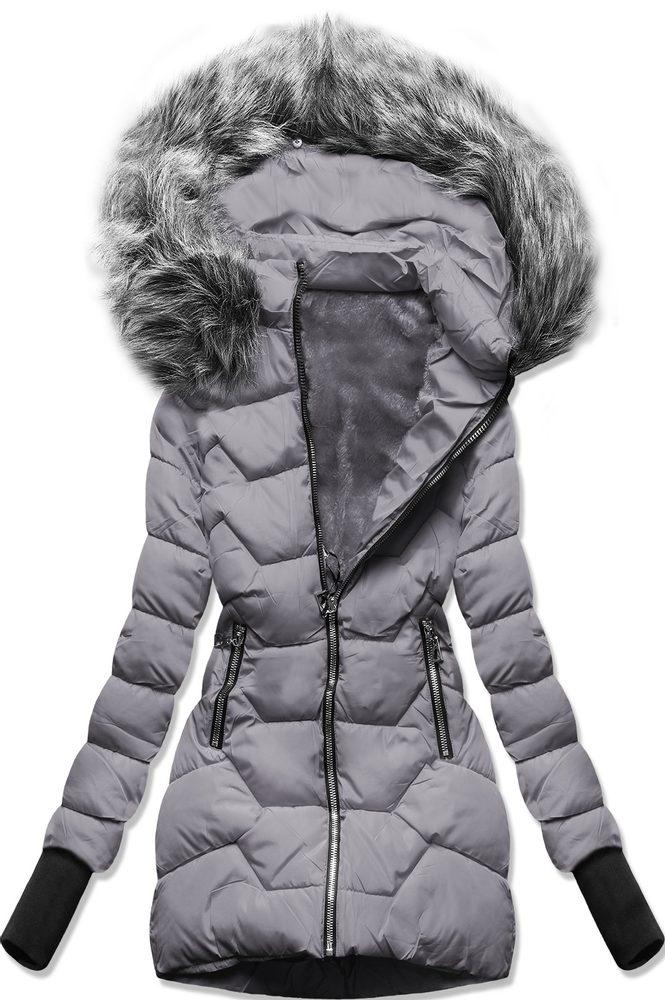 MODOVO Zimní bunda s kapucí šedá