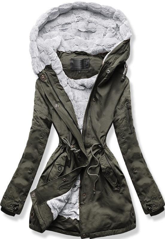 MODOVO Dámska zimná bunda s kapucňou W807 khaki