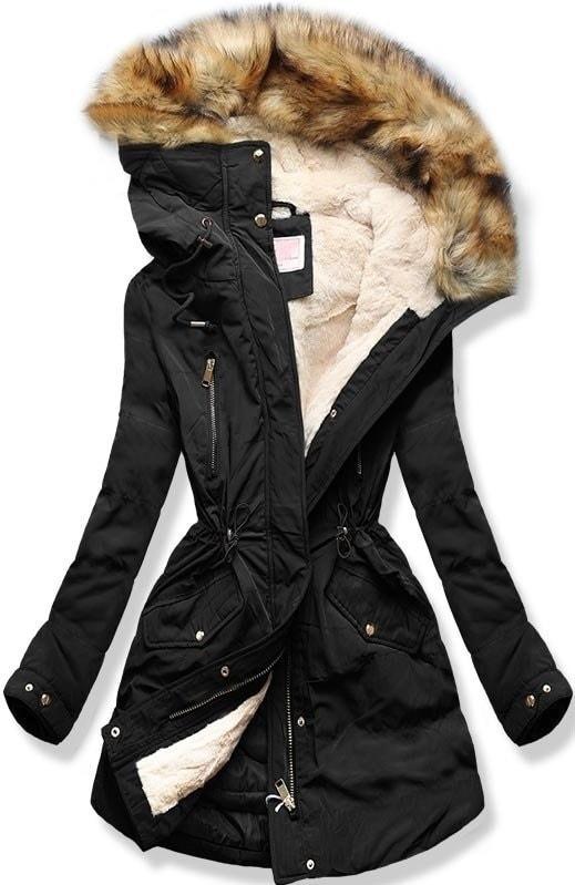 MODOVO Dámska zimná bunda s kapucňou W171 čierna