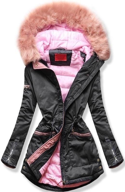MODOVO Dámska zimná bunda s kapucňou PO-305 grafitovo-ružová