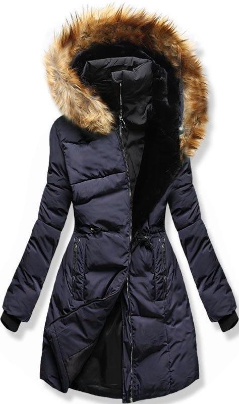 MODOVO Dámska zimná bunda s kapucňou M11 tmavo modrá - XL