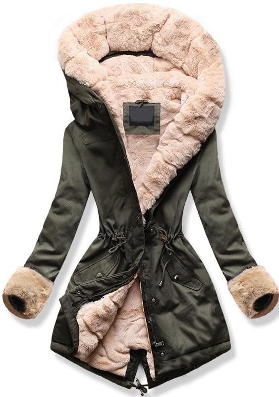 MODOVO Dámska zimná bunda s kapucňou 5513B khaki-béžová - XL