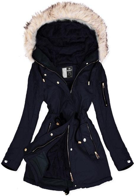 MODOVO Dámska zimná bunda W630 tmavomodrá