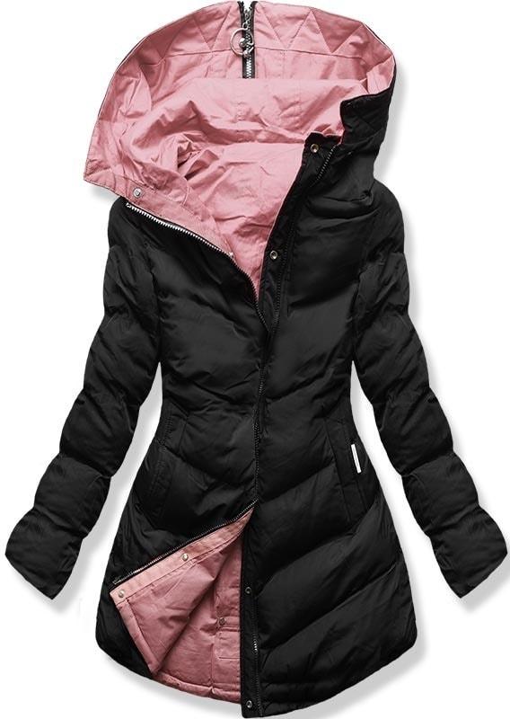 MODOVO Dámska zimná bunda s kapucňou B-736 čierno-púdrová - XXL