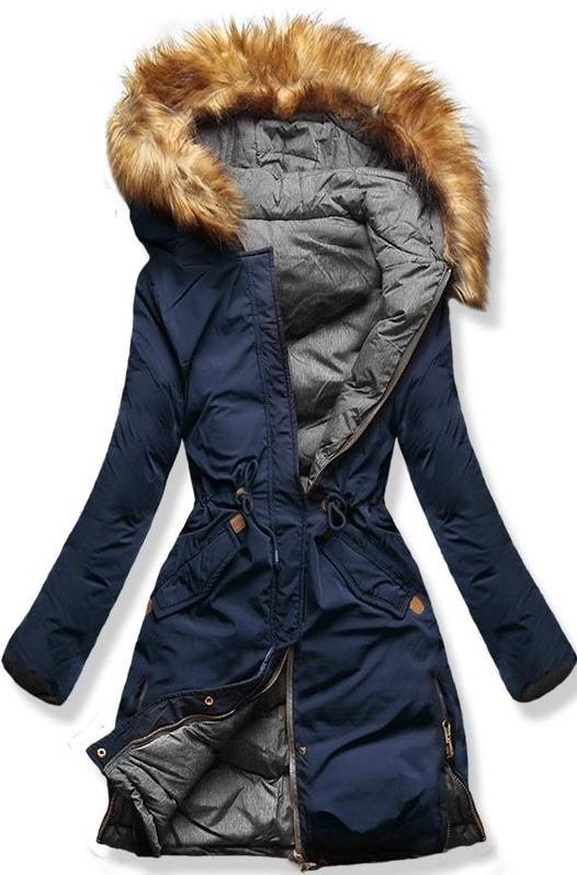 MODOVO Dámska zimná bunda s kapucňou A5 modro-šedá - XL