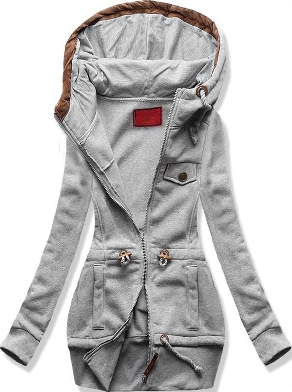 MODOVO Dlhá dámska mikina s kapucňou D419 šedá - L