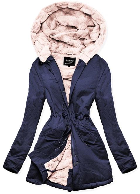 MODOVO Dámska zimná bunda s kapucňou W806 tmavomodrá