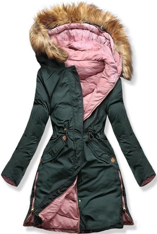 MODOVO Dámska zimná bunda s kapucňou A5 khaki-púdrová - XL