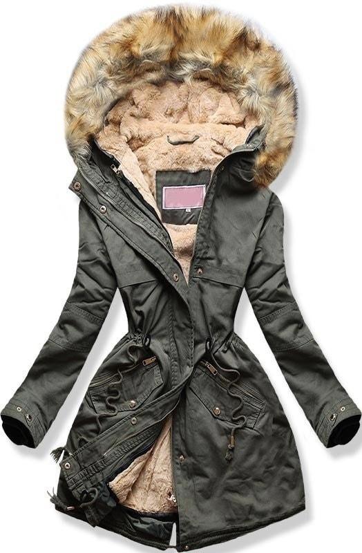 MODOVO Dámska zimná bunda s kapucňou W166-1 khaki - XL