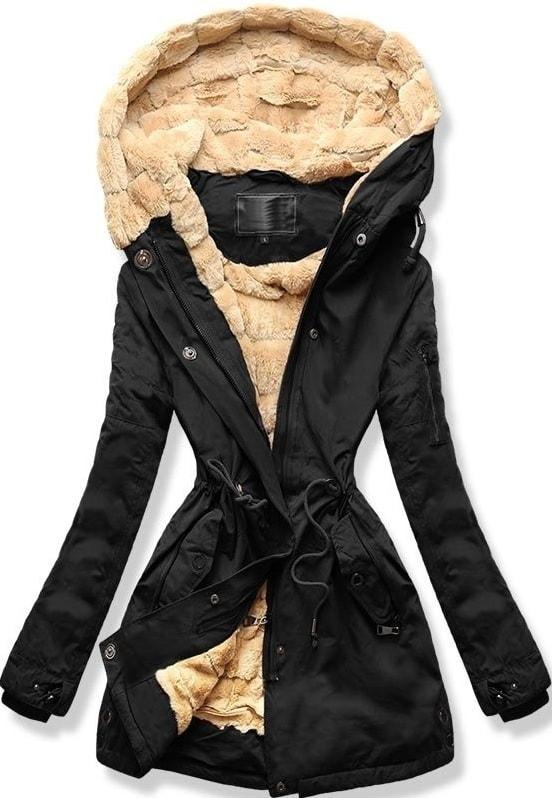 MODOVO Dámska zimná bunda s kapucňou W807 čierna