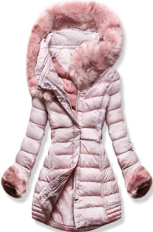 MODOVO Dámska zimná bunda s kapucňou W750 púdrová