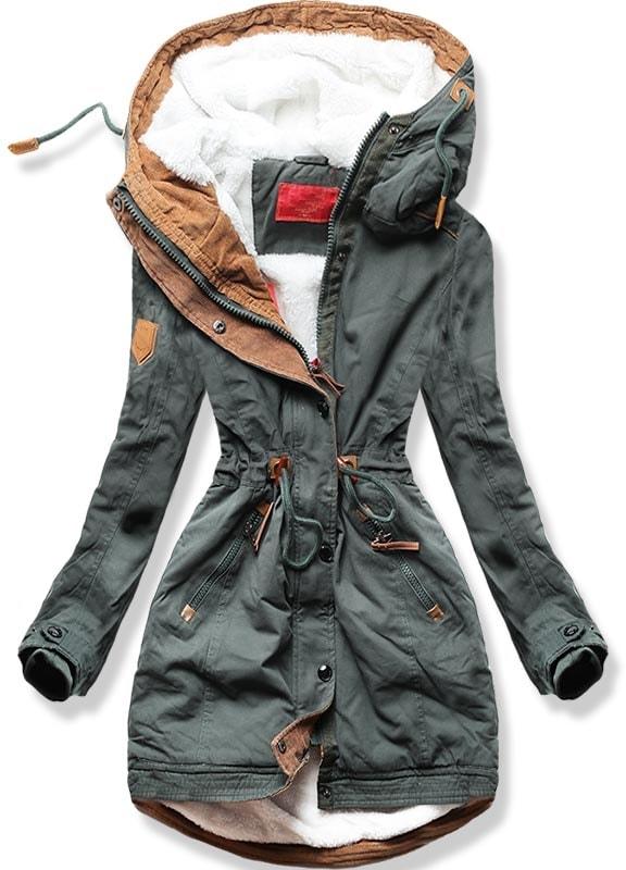 MODOVO Dámska zimná bunda A-93 khaki - S