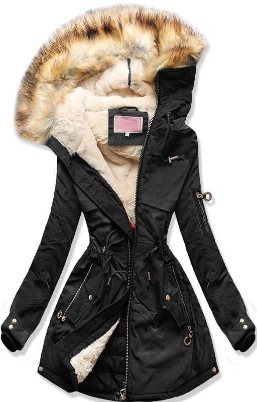 MODOVO Dámska zimná bunda s kapucňou W169 čierna